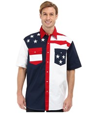 Roper S S Pieced Stars And Stripes Patriotic Blue Men's Short Sleeve Button Up