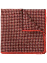 Canali Micro Check Pocket Square Red