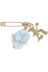 Christopher Kane Gold Tone Stone Brooch Sky Blue