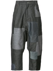 Mostly Heard Rarely Seen Patchwork Cropped Pants Grey