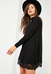 Missguided Black High Neck Lace Trim Long Sleeve Swing Dress