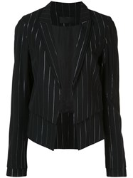 Rta Stella Striped Double Layer Blazer Black