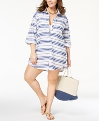 Dotti Plus Size Havana Stripe Cotton Shirtdress Cover Up Swimsuit Denim White