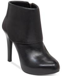 Jessica Simpson Addey Cuffed Dress Booties Women's Shoes Black Leather