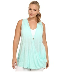 Marika Curves Plus Size Terri Drape Racerback Tank Heather Aruba Blue Women's Workout