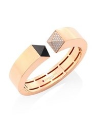 Roberto Coin Prive Pyramid Pave Diamond Black Jade And 18K Rose Gold Bangle