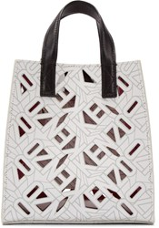 Kenzo White Leather Small Flying Tiger Tote