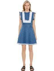 House Of Holland Embroidered And Raw Cut Cotton Denim Dress