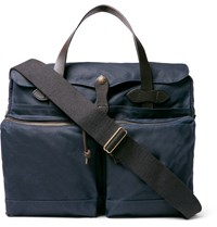 Filson 24 Hour Leather Trimmed Coated Canvas Briefcase Blue