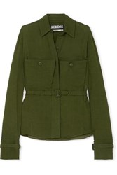 Jacquemus Enna Belted Twill Shirt Army Green