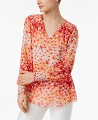 Calvin Klein Printed Smocked Peasant Top A Macy's Exclusive Porcelain Rose Combo