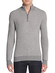 Saks Fifth Avenue Half Zip Cashmere Jacquard Pullover Granite Ivory