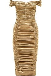 Dolce And Gabbana Off The Shoulder Ruched Silk Blend Lurex Midi Dress Gold