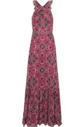 Talitha Woman Lily Printed Silk Crepe De Chine Maxi Dress Pink