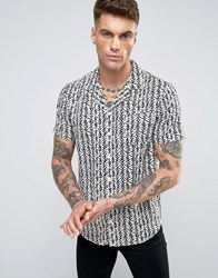 Another Influence Print Shirt White Beige