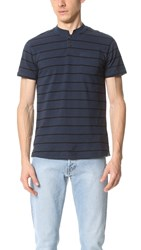 Steven Alan Cropped Collar Polo Navy Black Stripe