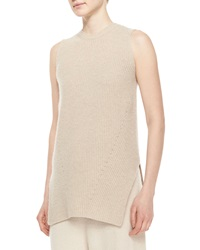 The Row Sleeveless Merino Cashmere Ribbed Top Stone