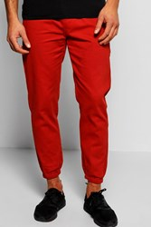 Boohoo Cotton Twill Skinny Chinos With Cuff Hem Rust