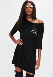 Missguided Black Oversized Arabic Graphic T Shirt Dress