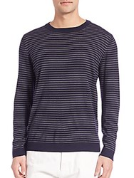 Brunello Cucinelli Striped Wool And Cashmere Sweater Navy