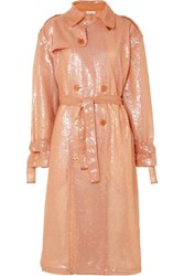 Ashish Sequined Georgette Trench Coat Pink