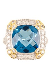 Two Tone White Pave And Grey Blue Cushion Shaped Simulated Diamond Ring