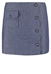 Morgan Jandy Mini Skirt Jean Brut Blue Denim