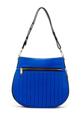 Milly Ludlow Convertible Leather Hobo Bag Blue