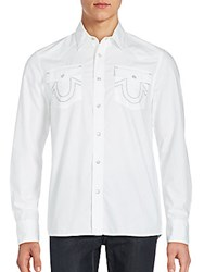 True Religion Solid Button Up Shirt White