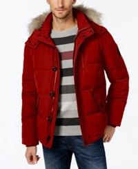 Calvin Klein Men's Faux Fur Lined Hooded Coat Deep Red