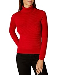 Karen Millen Fine Cable Knit Sweater Red