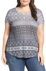 Lucky Brand Plus Size Women's Ditzy Floral Stripe Tee