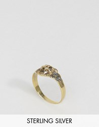 Asos Sterling Silver Lion Ring Antique Gold