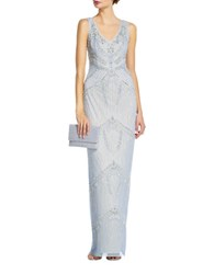 Adrianna Papell Beaded V Neck Gown Blue