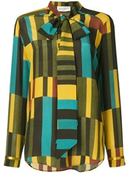 Antonia Zander Geometric Print Blouse Yellow And Orange