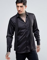 Rogues Of London Skinny Shirt With Removable Scarf Tie Black