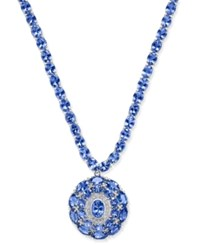 Macy's Tanzanite 45 Ct. T.W. And Diamond 1 8 Ct. T.W. Pendant Necklace In Sterling Silver Blue