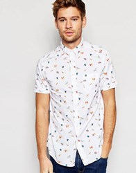 Brave Soul Short Sleeve Shirt In Beach Print White