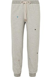 The Great Cropped Embroidered Cotton Blend Jersey Track Pants Light Gray