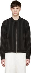 Tomorrowland Black Wool Striped Bomber Jacket
