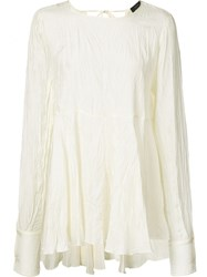 Joseph Ruffled Semi Sheer Blouse White