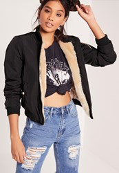 Missguided Lightweight Shearling Lined Bomber Jacket Black Black