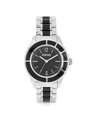 Versace Versus Tokyo Crystal 42 Stainless Steel And Black Unisex Watch Silver