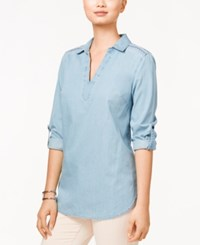 Tommy Hilfiger Roll Tab Sleeve Chambray Tunic Light Wash