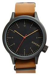 Komono Men's 'Magnus' Oversized Round Dial Leather Strap Watch 57Mm