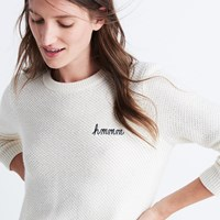 Madewell Embroidered Hmmm Backroad Button Back Sweater Antique Cream