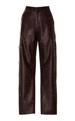 Zeynep Arcay Pearl Embroidered Leather Pant Purple
