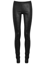 Rick Owens Charcoal Stretch Leather Leggings Black