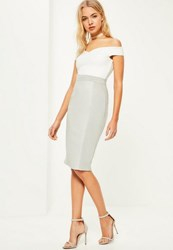 Missguided Grey Faux Leather Suede Midi Skirt