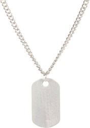 Loren Stewart Silver Dog Tag Pendant And Chain Silver